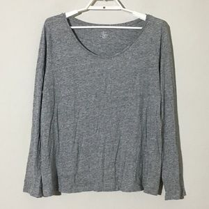 🍁LOFT Scoop Neck Basic Long Sleeve TShirt Gray XL